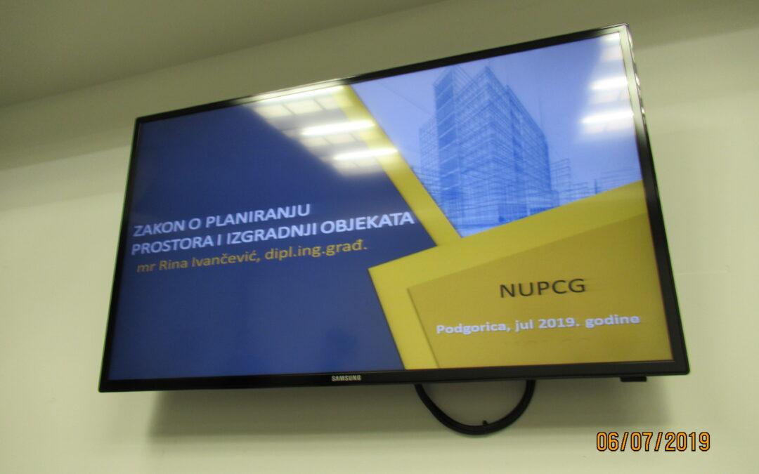 """NUPCG organizuje seminar """"Primjena novousvojenog Zakona o planiranju prostora i izgradnji objekata u postupku procjene vrijednosti nekretnina """""""